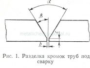 Разделка кромок под сварку трубопроводов